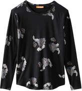 Joe Fresh Women's Glitter Print Tee, Black (Size XS)