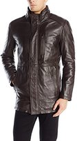 Andrew Marc Men's Stuyvesant Smooth Lamb Leather Car Coat with Removable Bib