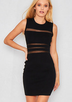 Missy Empire Olita Black Knit Mesh Panel Bodycon Dress