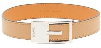 Loewe Logo Engraved Buckle Leather Bracelet - Womens - Tan