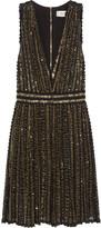 Badgley Mischka Beaded crocheted cotton mini dress