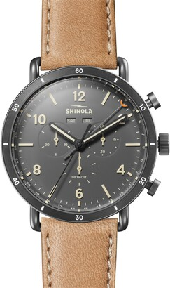 Shinola The Canfield Chrono Leather Strap Watch, 45mm