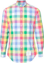 Thom Browne Long Sleeve Button Down Shirt With Mini Round Collar In Small Buffalo Check Poplin