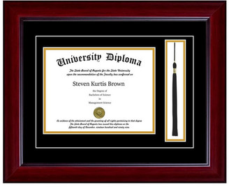 "Perfect Cases, Inc. Single Diploma Frame w/ Tassel & Double Matting, Mahogany, 11""x14"", UV"