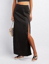 Charlotte Russe Satin Slit Maxi Skirt