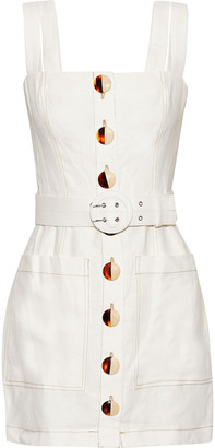 Nicholas Belted Linen Mini Dress