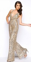 Mac Duggal Semi Fitted Sequin Wide Leg Jumpsuit