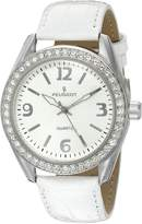Peugeot Women's Silver Case Swarovski Crystal White Thick Leather Band Dress Watch 3006WT