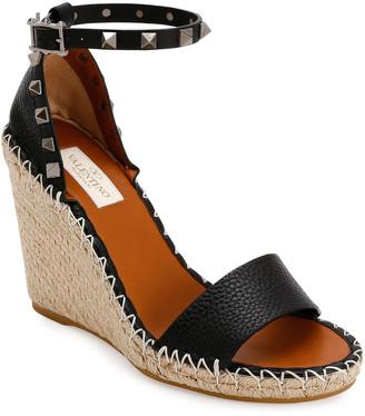 Valentino Rockstud Double Espadrille Wedge Sandals