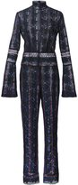 Yigal Azrouel rose embroidered jumpsuit - women - Polyester - 0