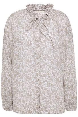 Maje Pussy-bow Ruffle-trimmed Printed Cotton-gauze Shirt