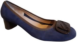 Salvatore Ferragamo Blue Suede Heels