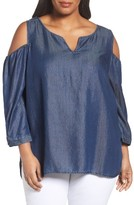 NYDJ Plus Size Women's Agnes Cold Shoulder Denim Top