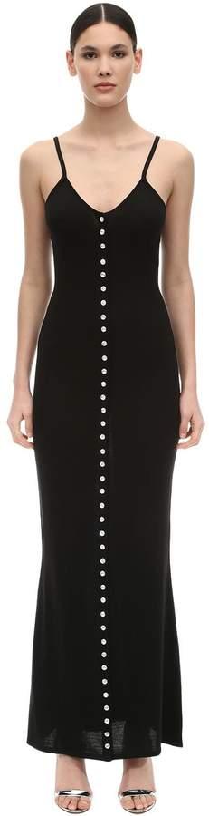 Azzaro Silk & Cotton Jersey Dress W/ Crystals