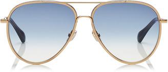 Jimmy Choo TRINY Dark Blue Aviator Sunglasses with Gold Metal Frame