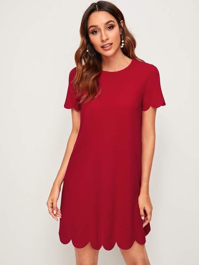 Shein Solid Scalloped Hem Tunic Dress