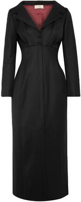 Sara Battaglia Split-front Wool-blend Twill Midi Dress