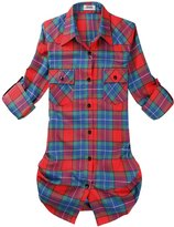 OCHENTA Women's Mid Long Style Roll Up Sleeve Plaid Flannel Shirt Label 3XL - US L