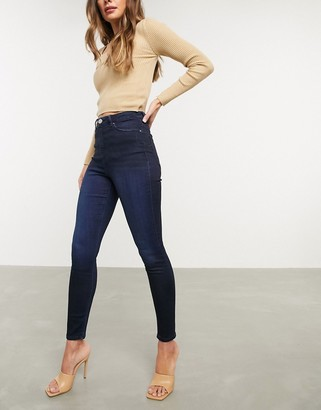 Asos Design DESIGN Ridley high waisted skinny jeans in blackened blue wash