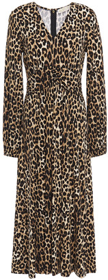 MICHAEL Michael Kors Ruched Leopard-print Stretch-jersey Midi Dress