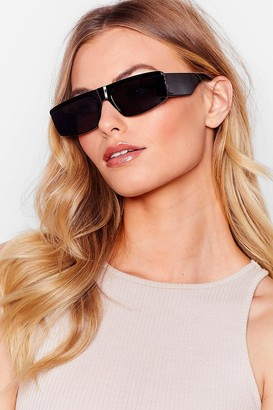 Nasty Gal Womens Hall of Frame Thick Tinted Sunglasses - Black