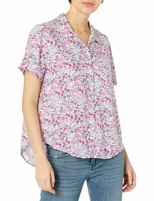 Lucky Brand Women's Short Sleeve Collared Button Down Tie Front Shirt