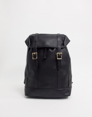 Asos DESIGN backpack in black faux leather with double strap