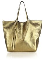 Alexander McQueen Skull Open Metallic Leather Shopper