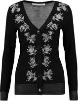 Diane von Furstenberg Embellished intarsia-knit merino wool-blend cardigan
