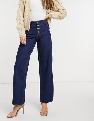 Only molly high waisted button detail wide leg jeans in dark blue