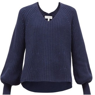 Apiece Apart Sequioia Balloon-sleeve Cotton-blend Sweater - Navy