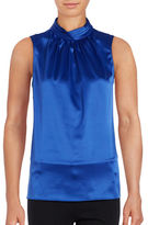 T Tahari Sleeveless Pleated Mockneck Blouse