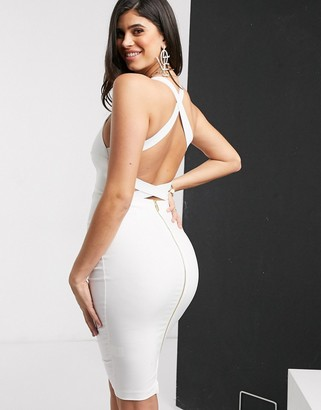 Vesper cross back midi dress in white