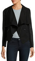 David Lerner Faux Leather-Accented Knit Jacket