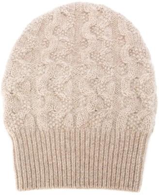 Agnona Cable Knit Cashmere Beanie Hat