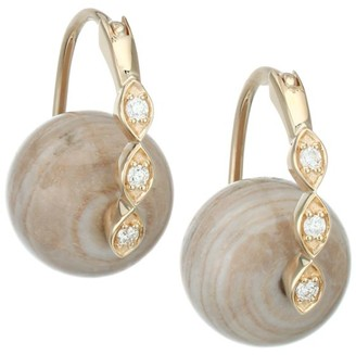 Sydney Evan Marquis 14K Yellow Gold, Diamond & Wood Stud Earrings