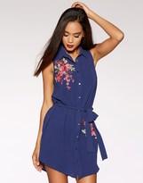 Quiz Embroidered Sleeveless Shirt Dress