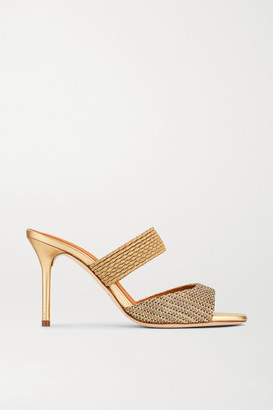 Malone Souliers Milena 85 Cord-trimmed Lurex Mules - Gold