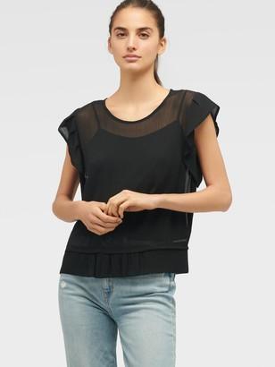 DKNY Women's Short Sleeve Top With Ruffle Sleeve And Hem - Black - Size XS