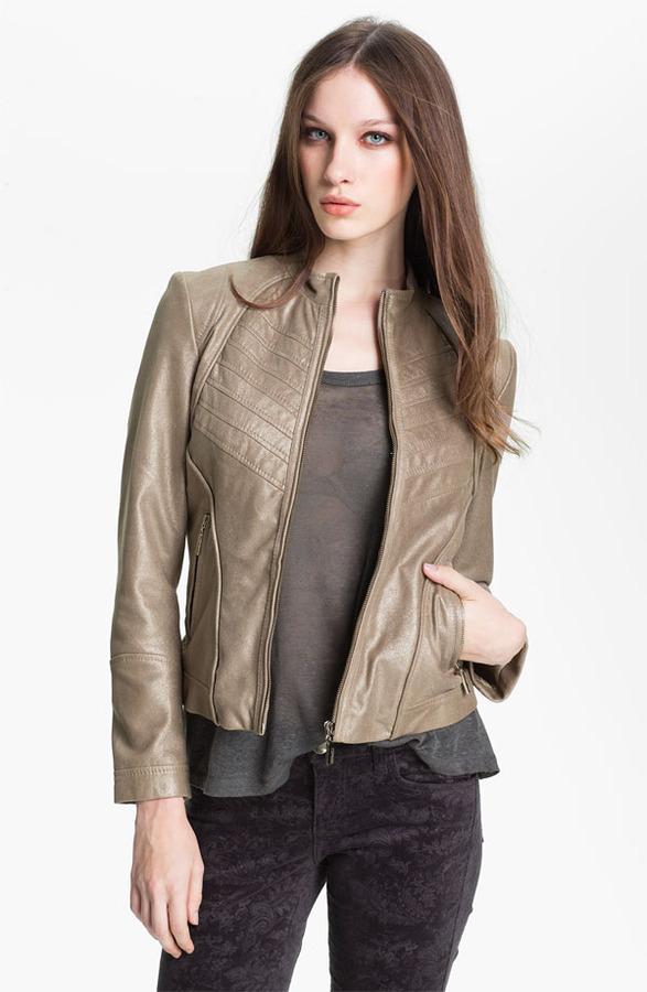 Bernardo Metallic Leather Scuba Jacket