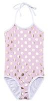 Snapper Rock Pink UPF 50+ Halterneck Swimsuit