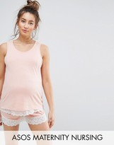 ASOS Maternity - Nursing ASOS Maternity NURSING Double Layer Lace Trim Pajama Tank & Short Set