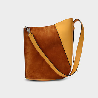 Lanvin Hook M Asymetrical Bucket Bag In Honey Leather