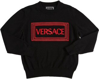 Versace Embroidered Logo Cotton Knit Sweater