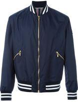 Moncler Gamme Bleu striped trim varsity jacket