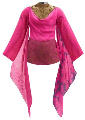 Marine Serre Upcycled Draped Lizard-devore And Silk Top - Fuchsia