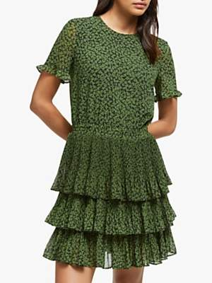Michael Kors MICHAEL Mini Lilly Tier Dress, Black/Evergreen