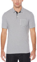 Perry Ellis Short Sleeve Cross Stripe Piecing Polo