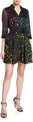 Alice + Olivia Raja V-Neck Mini Shirt Dress with Belt