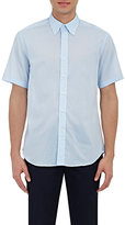 Barneys New York MEN'S VOILE SHORT-SLEEVE SHIRT-LIGHT BLUE SIZE S